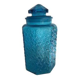 Large Vintage Textural Blue Canister Cookie Jar For Sale