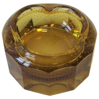 Modern Gold Amber Art Glass Bowl or Ashtray For Sale