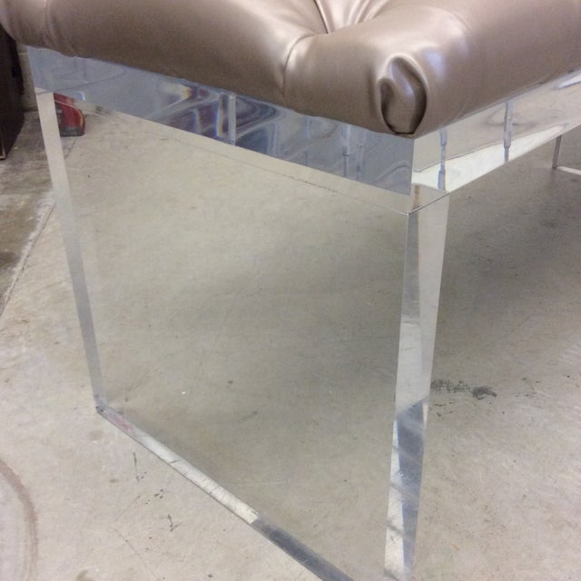 Monumental Leather Tufted Lucite Bench For Sale - Image 4 of 11
