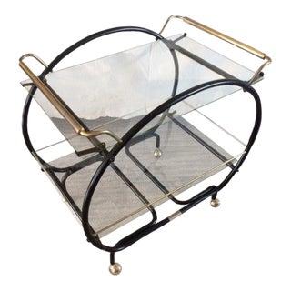 20th Century Industrial Metal Hoop Bar Cart For Sale