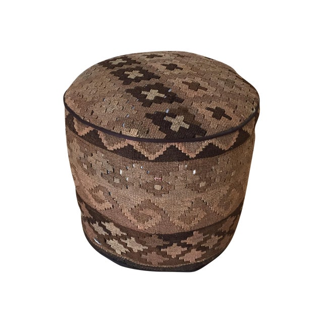 Kilim Upholstered Stool Ottoman - Image 1 of 4
