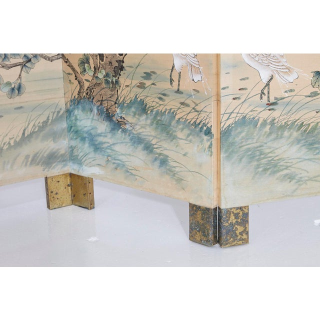 Japanese Four-Panel Floor Silk Screen Landscape With Herons, Circa 1920s For Sale In New York - Image 6 of 13