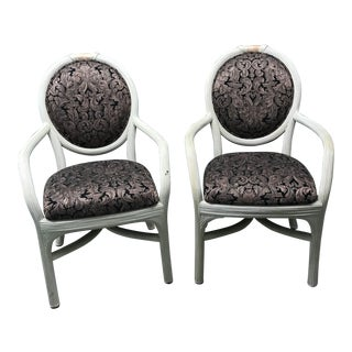 Reed & Coral Marble Armchairs - A Pair For Sale