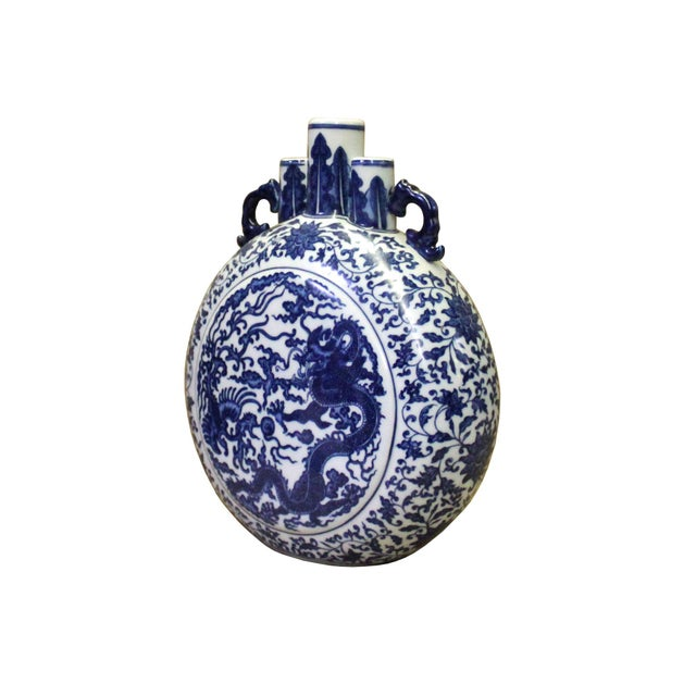 Chinoiserie Chinese Blue White Porcelain Dragon Phoenix Theme Flask Vase For Sale - Image 3 of 8
