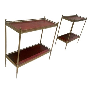 Maison Jansen 1940s Pair of Two-Tier Side Table With Red Leather Patinated Top For Sale