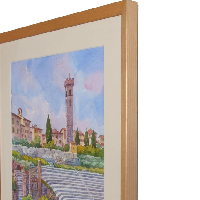 Vintage Italian Watercolor of Fiesole For Sale In San Francisco - Image 6 of 8