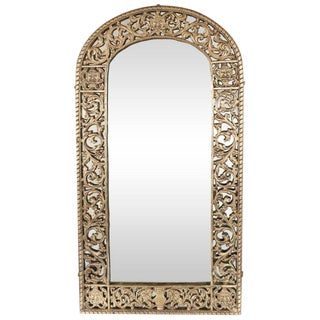 Art Deco Gilded Bronze Arabesque Arch Form Mirror in the Manner of Edgar Brandt For Sale