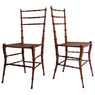 Faux Bamboo Chairs - A Pair For Sale