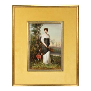 Lute Player, a Berlin Style German Porcelain Plaque of a Lady in Landscape For Sale