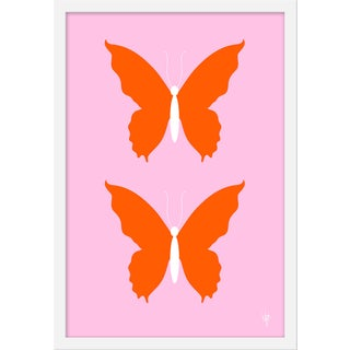 "Medium ""Butterfly Orange and Pale Pink"" Print by Wendy Concannon, 17"" X 21"" For Sale"