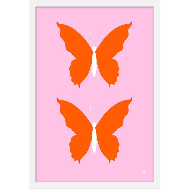 """Medium """"Butterfly Orange and Pale Pink"""" Print by Wendy Concannon, 17"""" X 21"""" For Sale"""