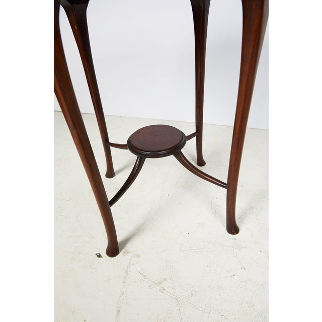 Brown English Art Nouveau Round Tea Table of Mahogany For Sale - Image 8 of 13