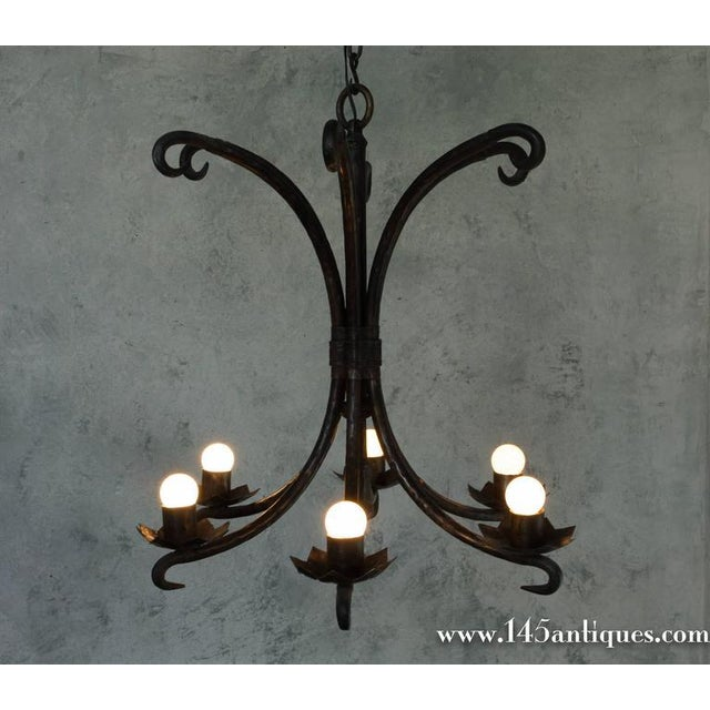 Spanish Spanish Wrought Iron Chandelier For Sale - Image 3 of 11