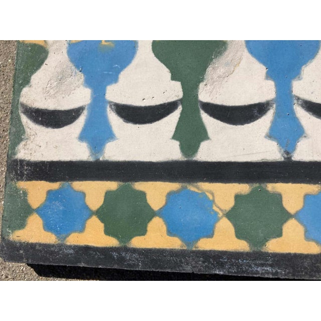 Mid 20th Century Moroccan Encaustic Cement Tile Border with Moorish Fez Design For Sale - Image 5 of 13