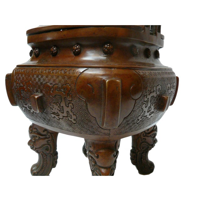 Chinese Metal Handcrafted Ding Incense Burner For Sale - Image 4 of 7