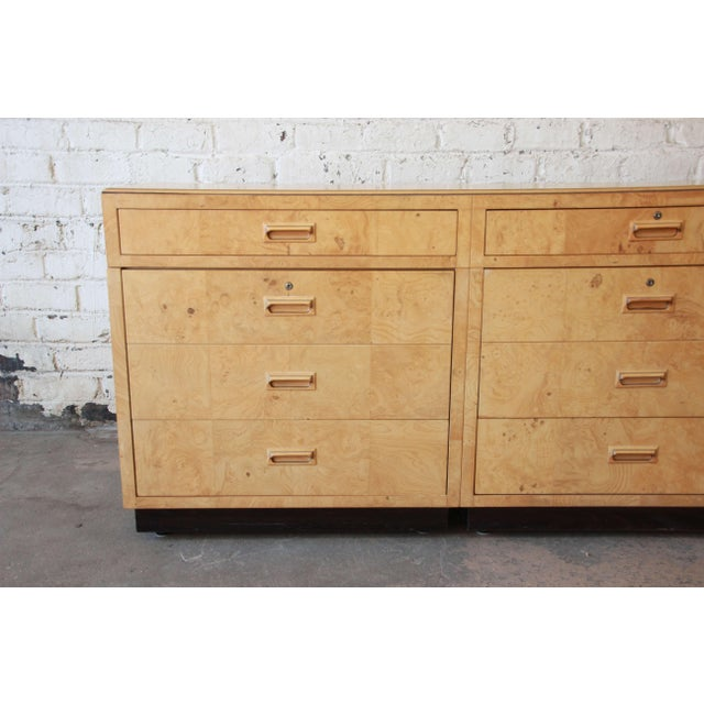 1970s Burl Wood Long Credenza or Bar Cabinet by Henredon For Sale - Image 5 of 13
