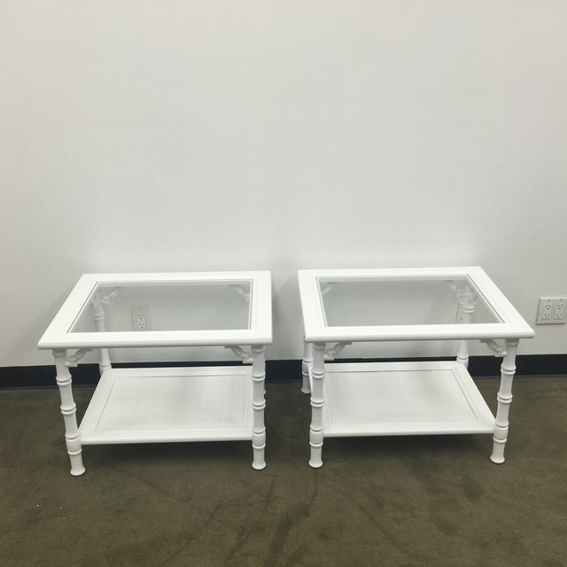 White Faux Bamboo Side Tables - A Pair - Image 3 of 7