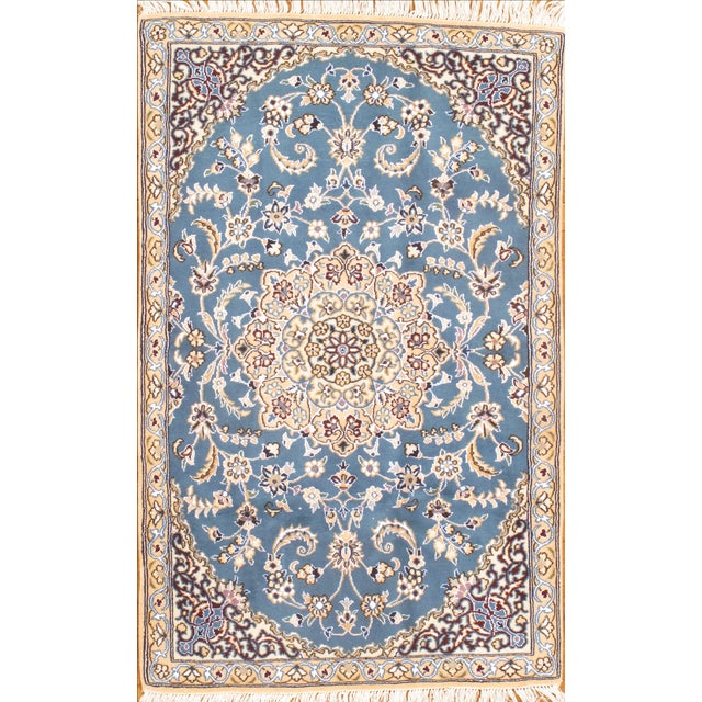 Hand knotted Nain rug. Wool and silk. From Persia.
