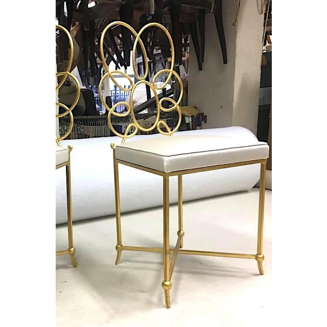 Rene Prou Rare Superb Witty Four-Flower Gold Leaf Wrought Iron Chairs in Silk.