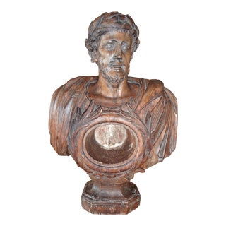French 18th Century Reliquary Walnut Bust For Sale