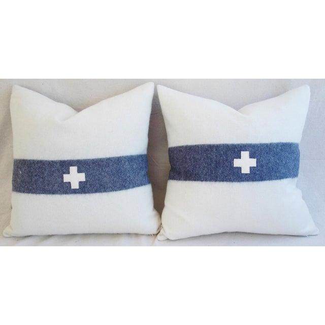 Nautical White & Blue Stripe Wool & Linen Pillows - a Pair - Image 3 of 10