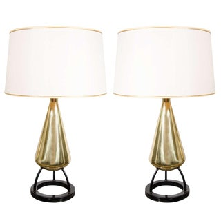 Pair of 1950s Mid-Century Modern Atomic Age Brass and Enamel Table Lamps For Sale