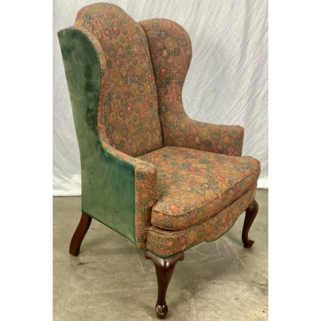 Late 20th Century Vintage Mahogany Frame Chippendale Style Upholstered Wingback Chair For Sale - Image 5 of 11