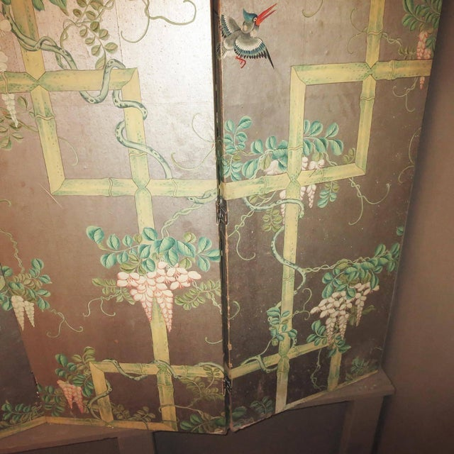 Late 18th Century 19th Century Four-Panel Painted Screen of Birds and Bamboo For Sale - Image 5 of 9