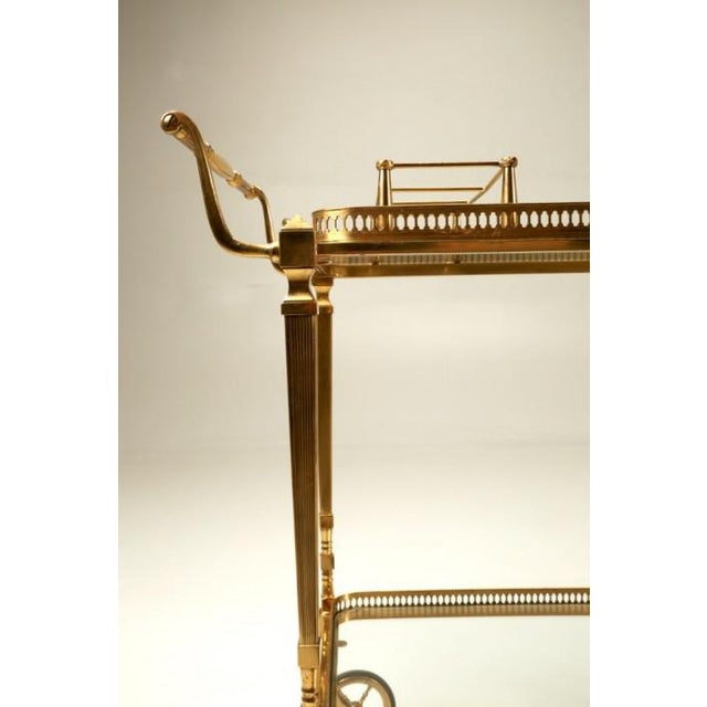 Metal Vintage French Brass Bar Cart With Tray For Sale - Image 7 of 11