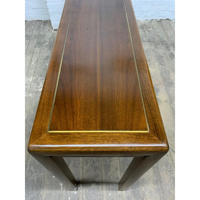 Baker Furniture Company Walnut and Brass Inlay Console by Baker Furniture Company For Sale - Image 4 of 6