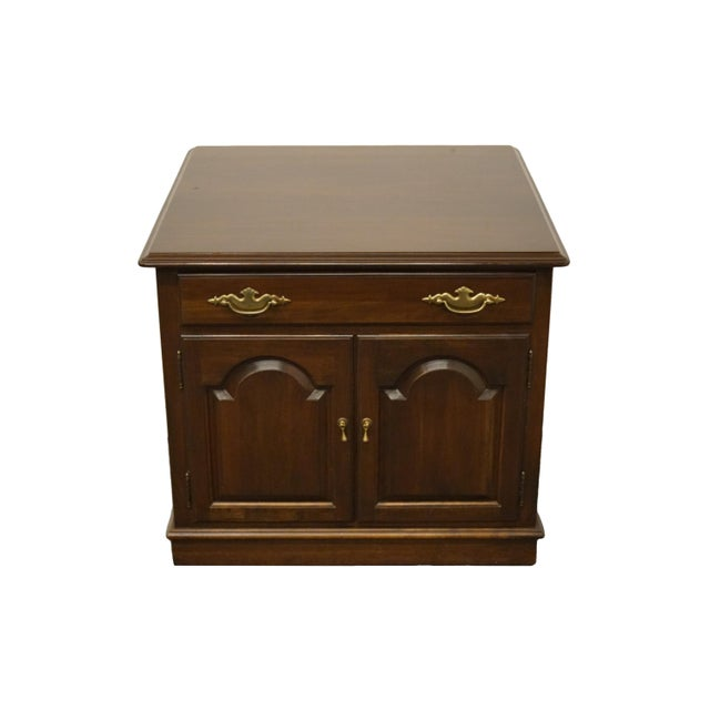 """Ethan Allen Georgian court solid cherry 26"""" storage accent end table 11-8867. We specialize in high end used furniture..."""