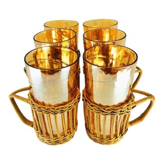 1960s Jeanette Glass Iridescent Marigold Highball Glasses, Set in Wicker Handles - Set of 6 For Sale