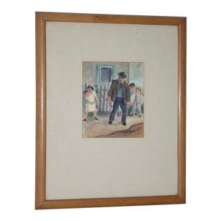 "Otis Oldfield (American, 1890-1969) ""Josie's Place"" Original Watercolor C.1930s For Sale"