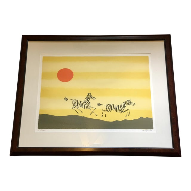 Framed Zebra Lithograph by Keith DeCarlo For Sale
