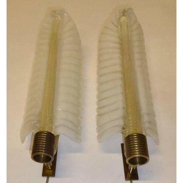 Art Deco 1940s Barovier e Toso Palm Leaf Sconces - a Pair For Sale - Image 3 of 8