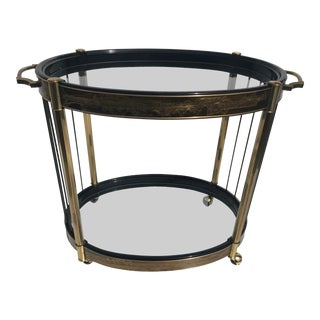 1970s Mid-Century Modern Mastercraft Bernhard Rohne Brass Bar Cart For Sale