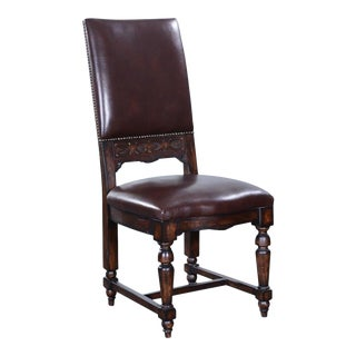 Balmore Brown Leather Carved Side Chair Dining For Sale