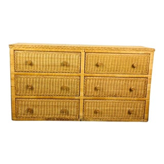 1970s Boho Chic Tan Rattan 6-Drawer Dresser For Sale