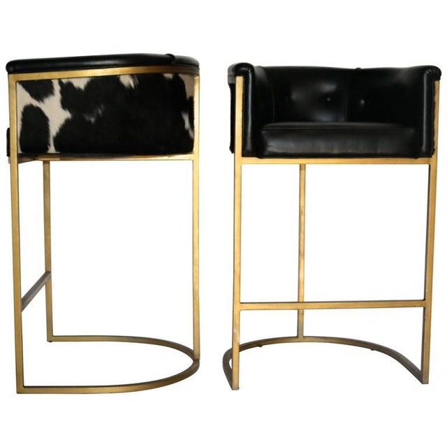 Bauhaus Modern Brass & Leather Stools - a Pair - Image 9 of 9