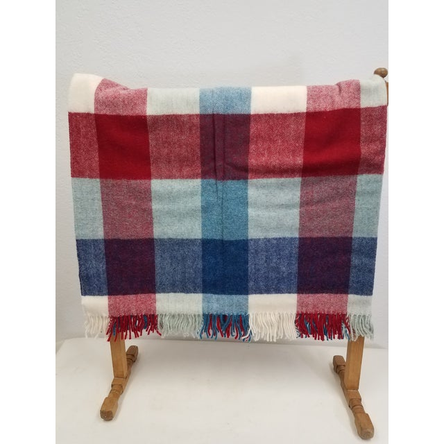 Wool Throw Red Blue White Square Stripes - Made in England For Sale - Image 4 of 12
