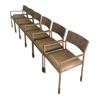 Brown Mesh Leather Dining Chairs - Set of 6 For Sale