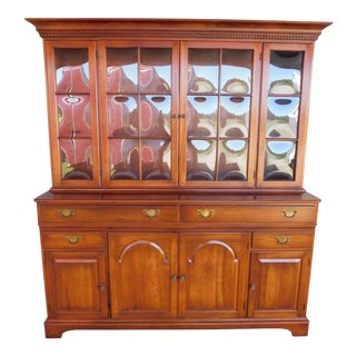 Pennsylvania House Chippendale Style Solid Cherry 2pc Hutch Storage Cabinet For Sale