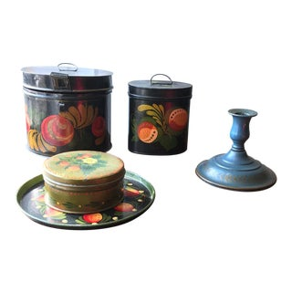 Mid-Century American Toleware Accessories - Set of 5