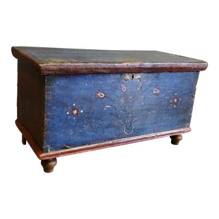 19th Century Antique Romanian Blue Blanket Chest For Sale
