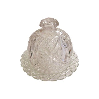 Vintage Glass Domed Covered Butter Dish