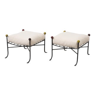 Pair of 1950s Wrought Iron French Stools With Linen Cushions