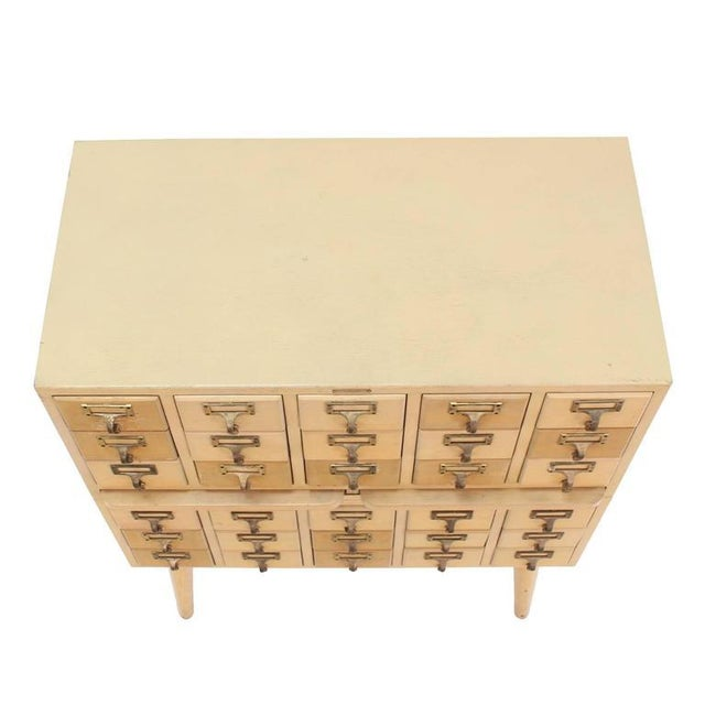 Wood Outstanding Vintage All Wood Index Card File Cabinet For Sale - Image 7 of 8