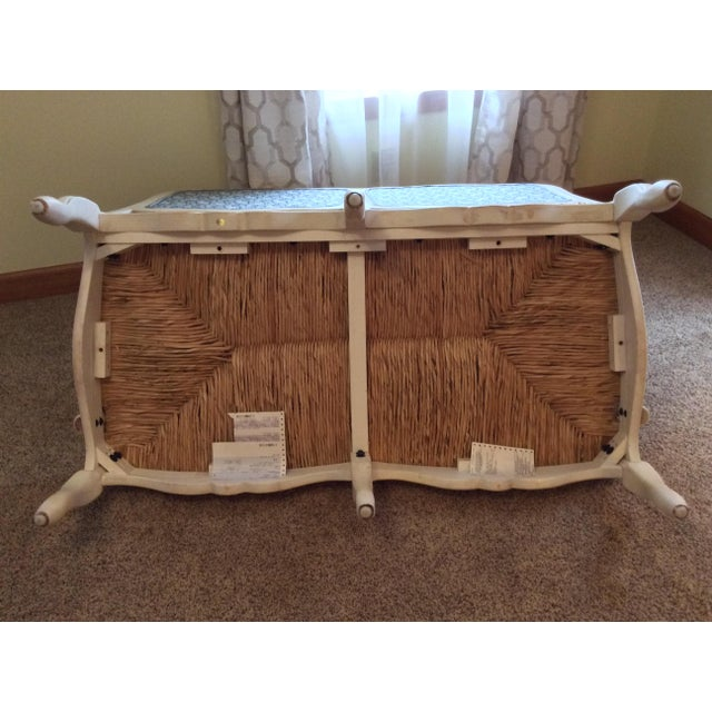2000 - 2009 Antique Styled White Country French Provential Rush Seat Settee For Sale - Image 5 of 13