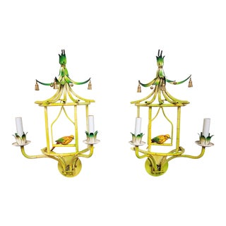 Faux Bamboo Tole Pagoda With Songbird Sconces - a Pair For Sale