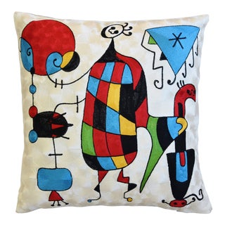 "Silk Crewel Joan Miró Abstract Design Feather/Down Pillow 18"" Square For Sale"